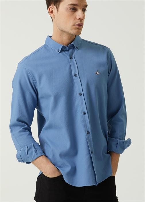Comfort Fit Mavi Düğmeli Yaka Dokulu Gömlek