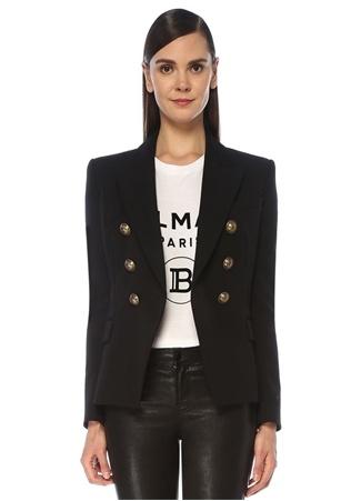 Balmain Kadın Siyah Kruvaze Yün Blazer Ceket 42 FR