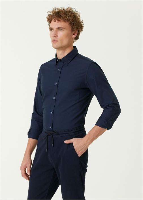 Slim Fit Lacivert Logo Detaylı Oxford Gömlek