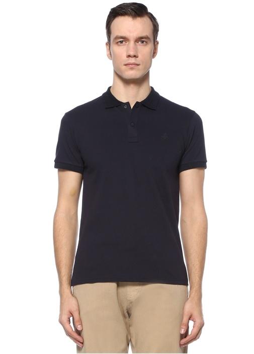 Slim Fit Lacivert Polo Yaka Dokulu T-shirt