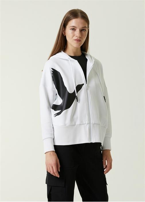 Beyaz Kapüşonlu Kontrast Logolu Sweatshirt