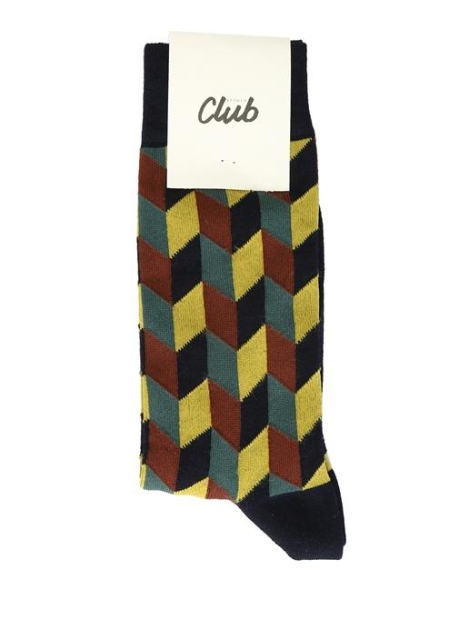 Colorblocked Geometrik Desenli Erkek Çorap