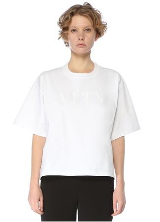 Valentino Kadın VLTN Beyaz Bisiklet Yaka T-shirt S EU