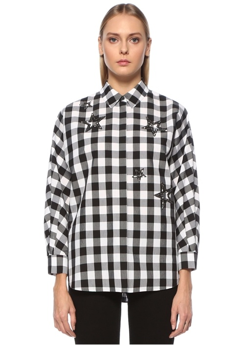 Oversize Siyah Kareli İşlemeli Poplin Gömlek