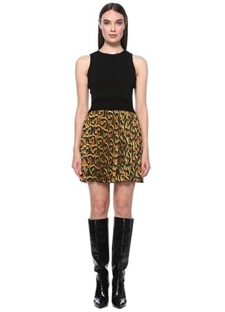 Network Kadın Siyah Taba Desenli Kolsuz Mini Elbise S EU