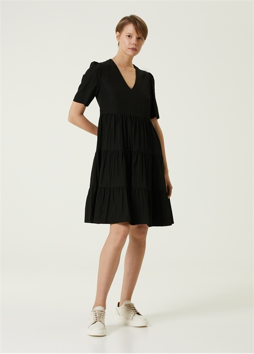 Siyah V Yaka Mini Tafta Elbise