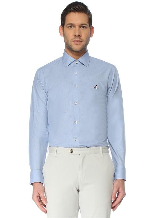 Slim Fit Mavi İngiliz Yaka Desenli Gömlek
