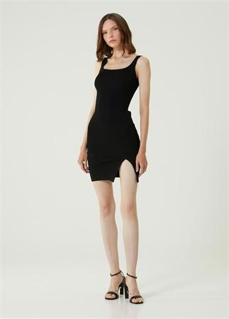 Academia Kadın Siyah Askılı Yırtmaçlı Mini Triko Elbise XS