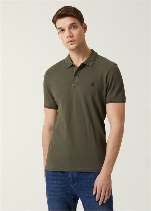 Comfort Fit Haki Polo Yaka T-shirt