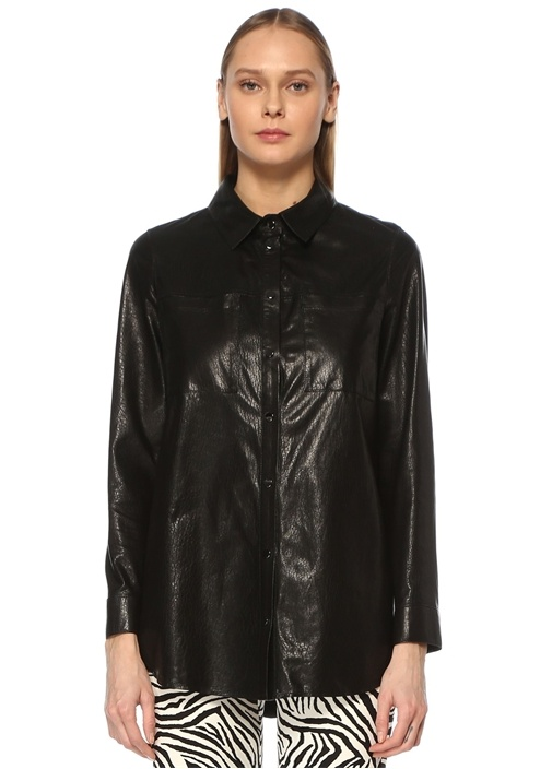 Siyah Polo Yaka Crinkle Dokulu Deri Gömlek
