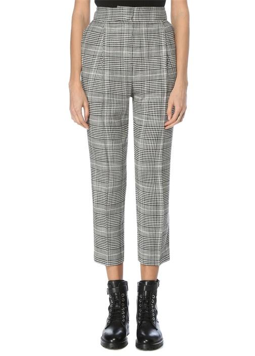 Siyah Beyaz Yüksek Bel Ekoseli Pantolon