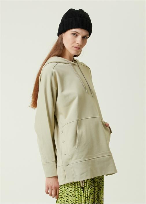 Açık Yeşil Kapüşonlu Yanı Çıtçıtlı Sweatshirt