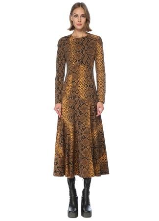 Dries Van Noten Kadın Sarı Yılan Derisi Desenli Midi Yün Elbise Altın Rengi 36 FR