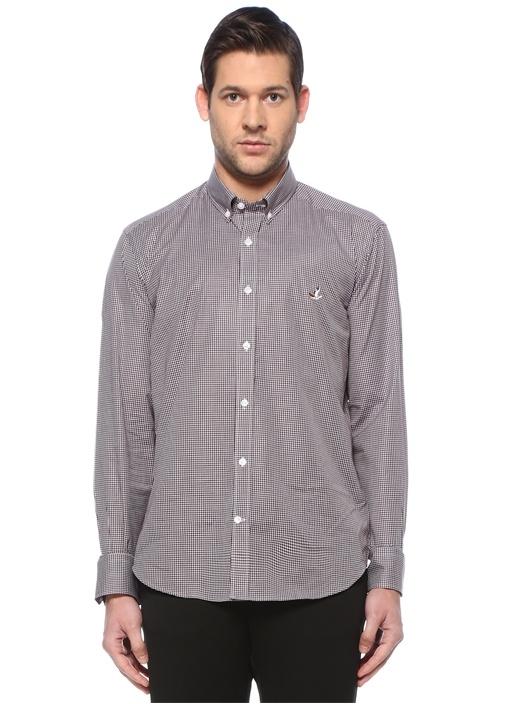 Siyah Beyaz Düğmeli Yaka Pötikare Desenli Gömlek