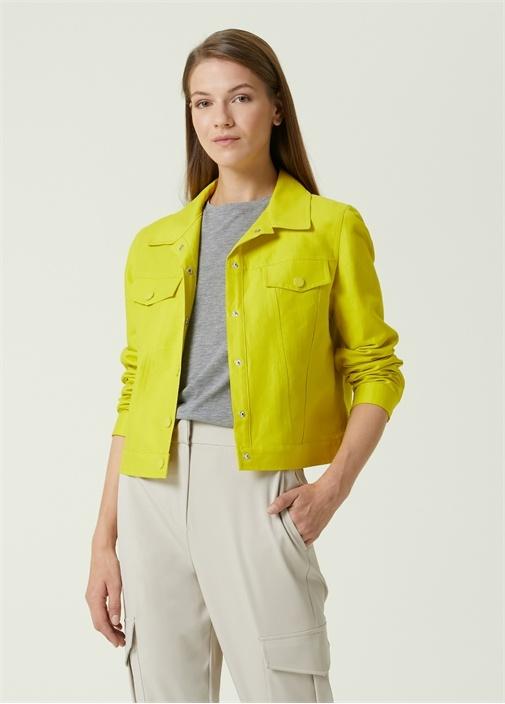 Neon Sarı Trucker Ceket