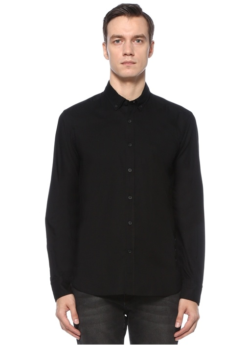 Comfort Fit Siyah Polo Yaka Oxford Gömlek