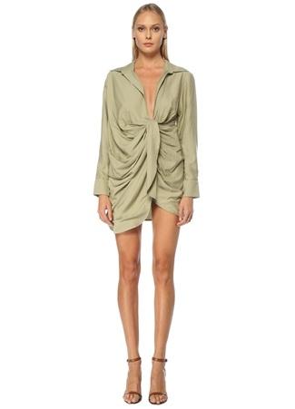 Jacquemus Kadın Yeşil Asimetrik Drapeli Mini Kokteyl Elbise 34 FR