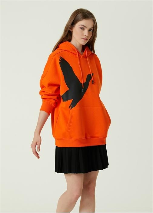 Oversize Turuncu Kapüşonlu Logo Baskılı Sweatshirt
