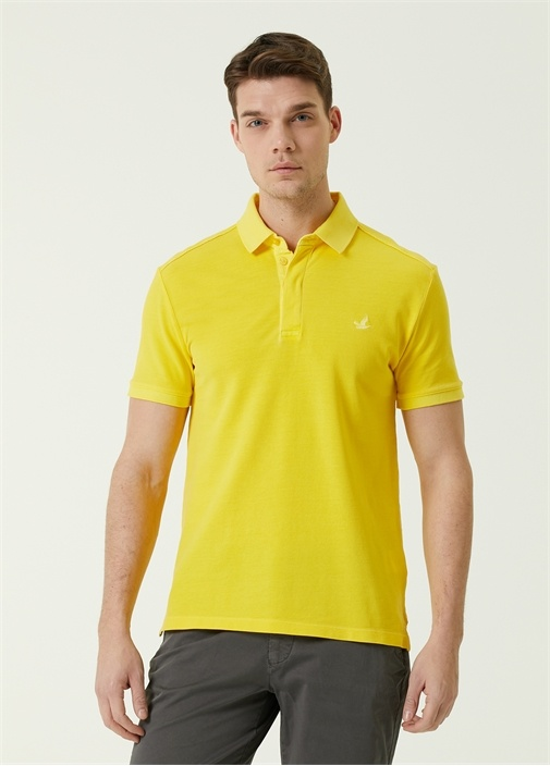 Slim Fit Sarı Polo Yaka Logolu T-shirt