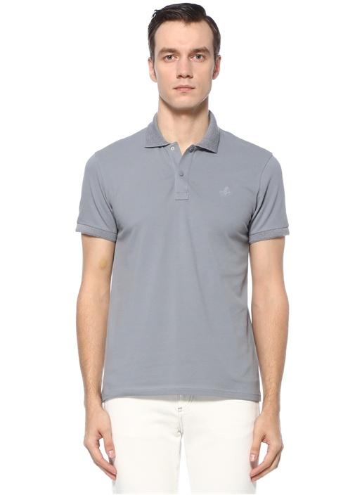 Slim Fit Gri Logolu Polo Yaka T-shirt