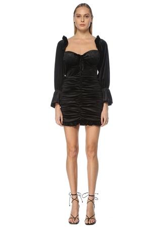 Naia Kadın Lily Siyah Uzun Kol Mini Kadife Kokteyl Elbise S EU