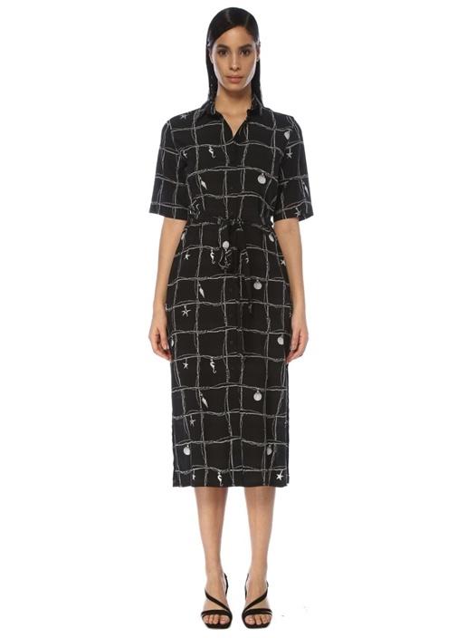 Siyah Desenli Kısa Kol Midi İpek Gömlek Elbise