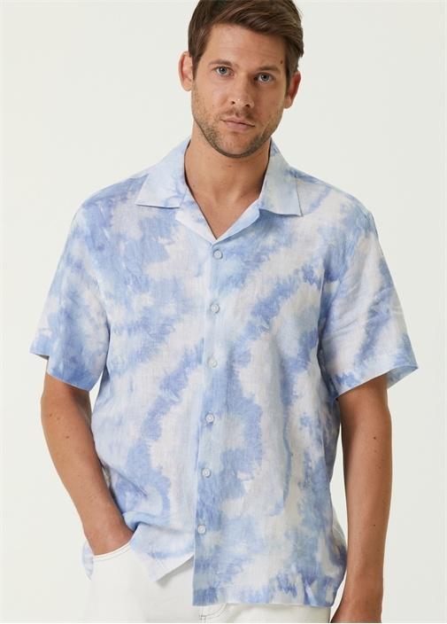 Mavi Batik Desenli Kısa Kollu Gömlek