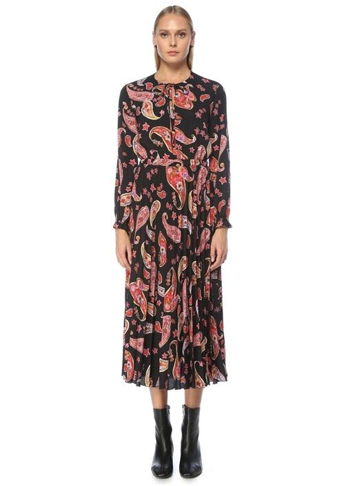 Siyah Şal Desenli Pilili Uzun Kol Midi Elbise
