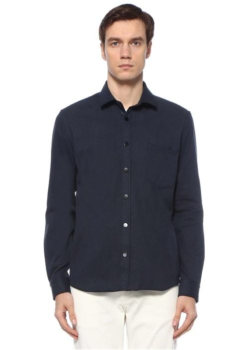 Custom Fit Lacivert Yarı İtalyan Yaka Dış Gömlek