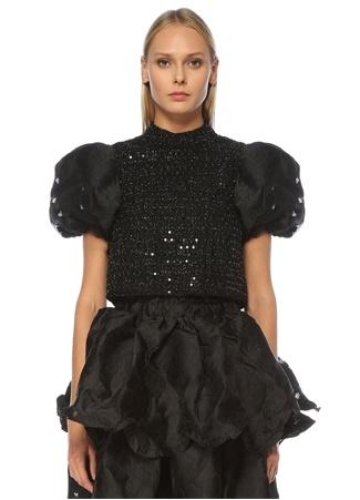 Sister Jane Kadın Siyah İşlemeli Balon Kol Crop Tweed Bluz XS EU