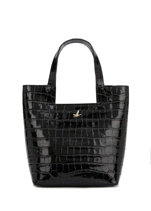 Siyah Krokodil Dokulu Mini Kadın Çapraz Çanta
