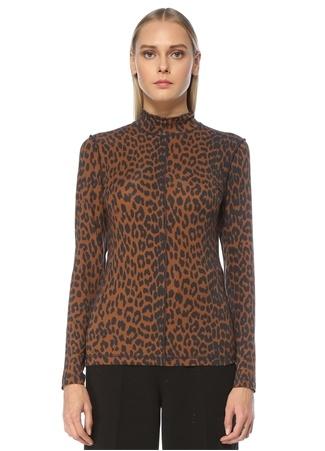 Ganni Kadın Dik Yaka Leopar Desenli Uzun Kol Bluz Kahverengi 36 FR