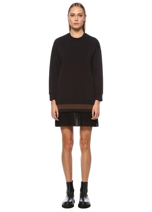 Siyah Pilili Şifon Etekli Mini Jersey Elbise