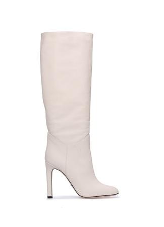 Beymen Collection Kadın Beyaz Deri Çizme Bej 36