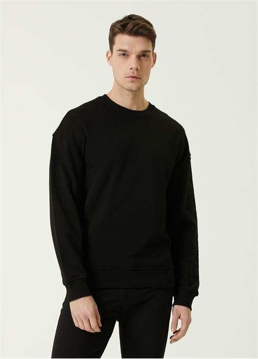 Siyah Kolu Slogan Baskılı Sweatshirt
