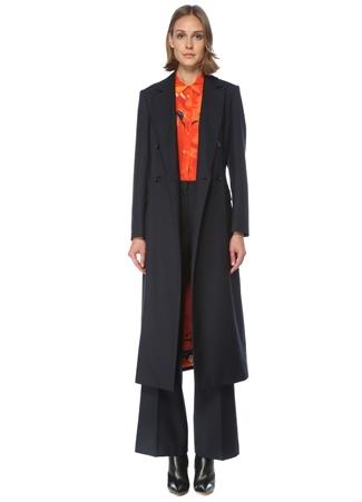 Beymen Collection Kadın Lacivert Kuşaklı Kruvaze Gabardin Palto 42