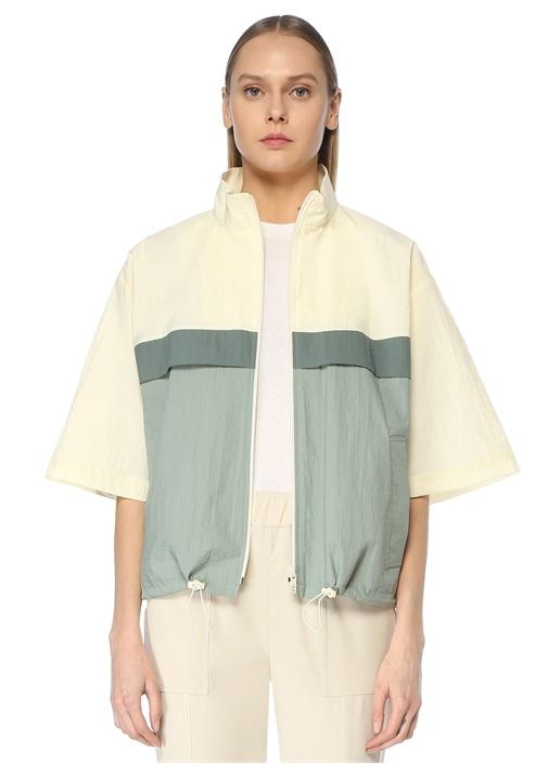 Dik Yaka Colorblock Rüzgarlık Ceket