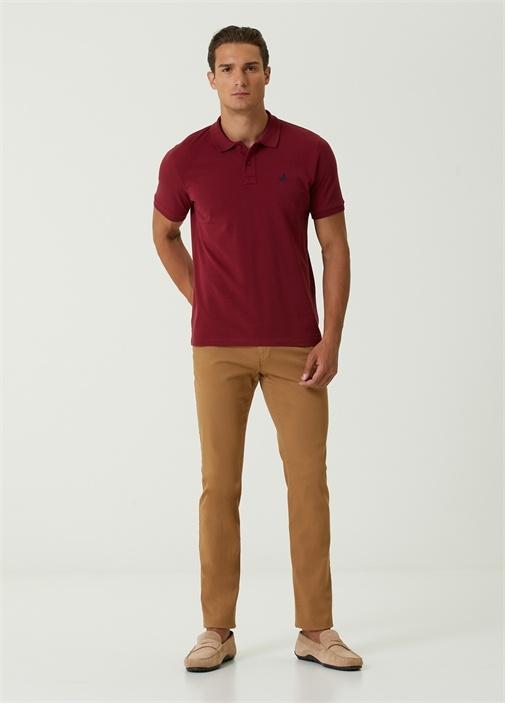 Comfort Fit Bordo Polo Yaka T-shirt