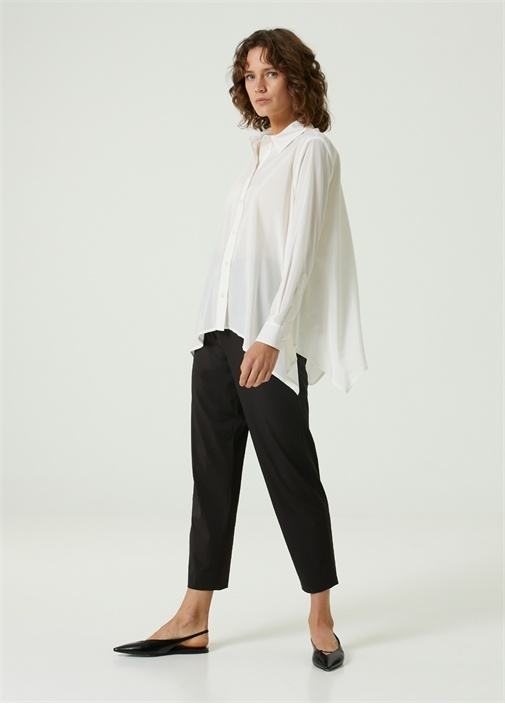 Beyaz Asimetrik Kesimli İpek Gömlek