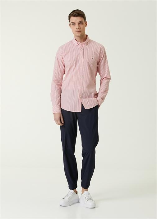 Slim Fit Kırmızı Polo Yaka Çizgili Gömlek