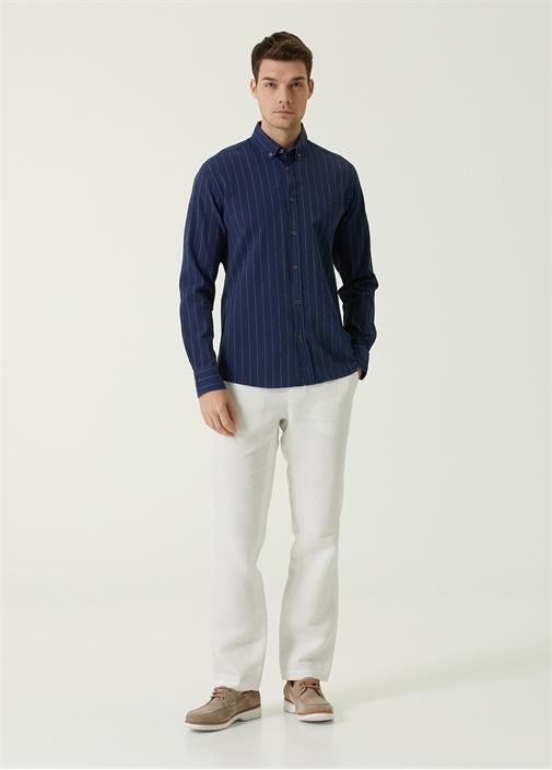 Kırık Beyaz Beli Bağcıklı Pantolon