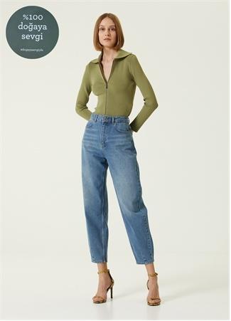 Academia Kadın Yüksek Bel Havuç Formlu Jean Pantolon Mavi 42