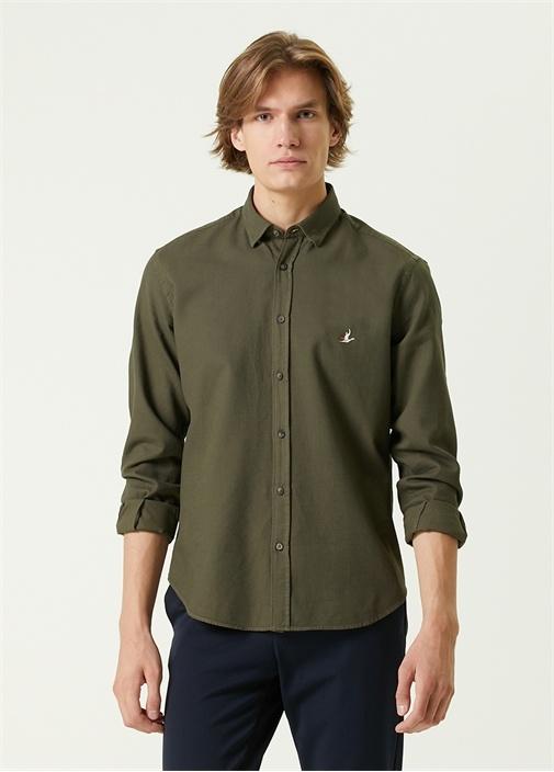 Comfort Fit Haki Polo Yaka Gömlek