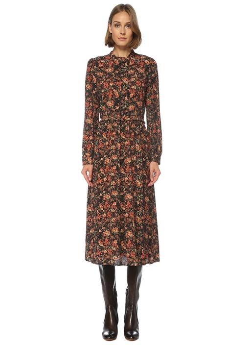Turuncu Çiçekli Uzun Kol Midi Elbise