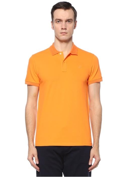 Slim Fit Turuncu Logolu Polo Yaka T-shirt