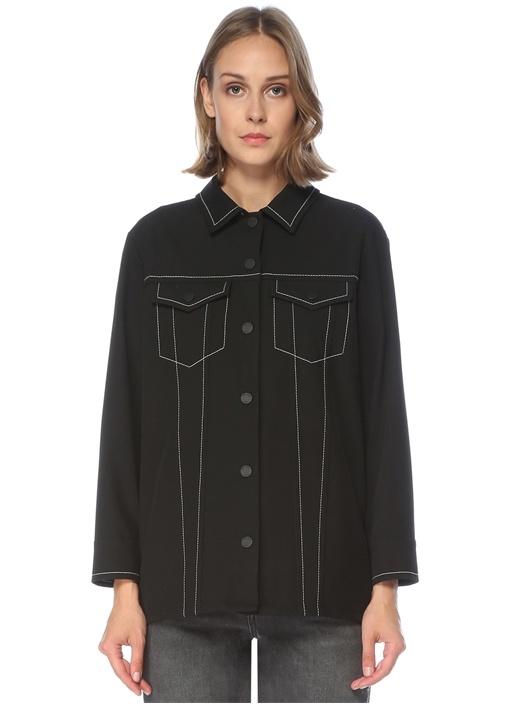 Siyah Dikiş Detaylı Twill Gömlek