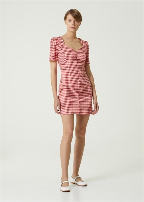 Mercan Pötikareli Kısa Kol Mini Elbise