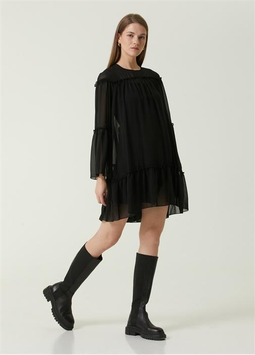 Siyah Fırfır Detaylı Mini Şifon Bohem Elbise