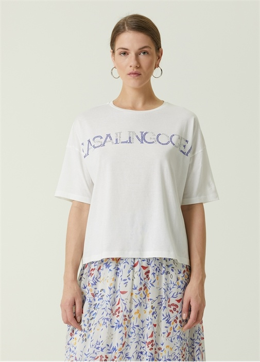 Sea Sailing Ocean Beyaz Taş Baskılı T-shirt