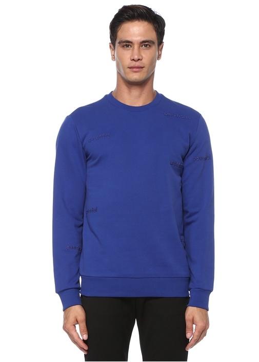 Mavi Slogan Nakışlı Basic Sweatshirt